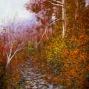 Secret Creek Autumn. Gouache on paper. 21x14. Artist - Tesh Parekh