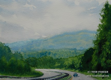 """Road to Asheville"". 10.5x14.5. Watercolor on paper."