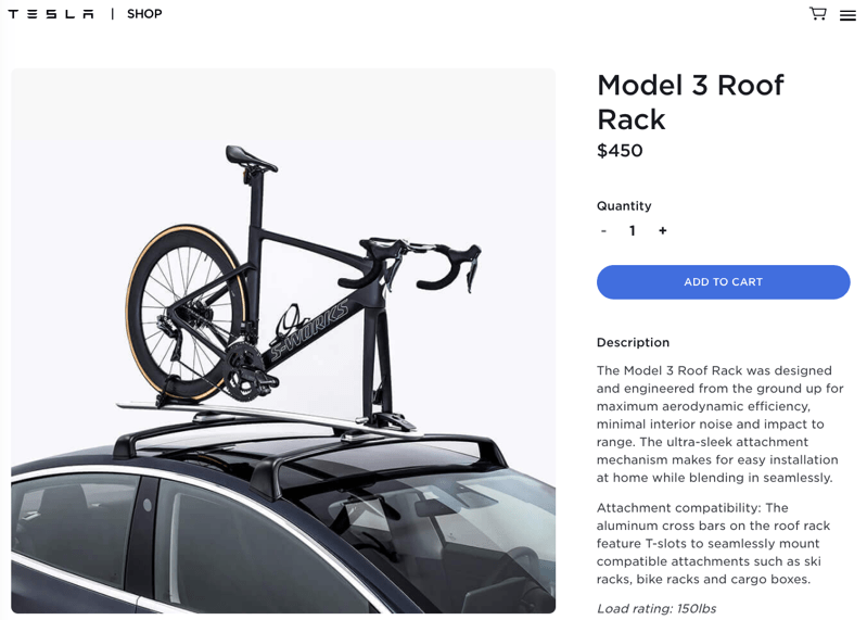 Tesla model 3 roof rack