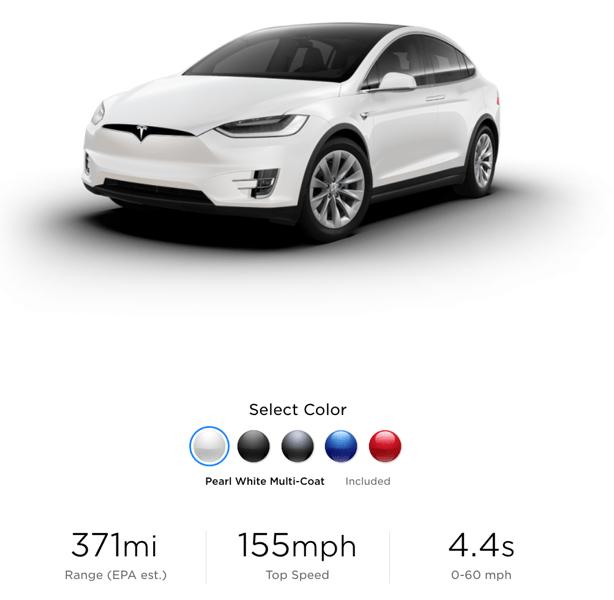 Tesla model x range 371 miles