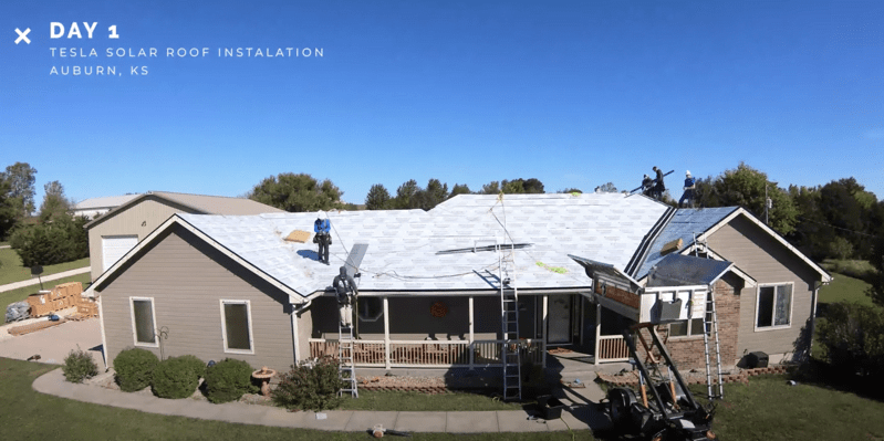 Tesla solar roof install timelapse