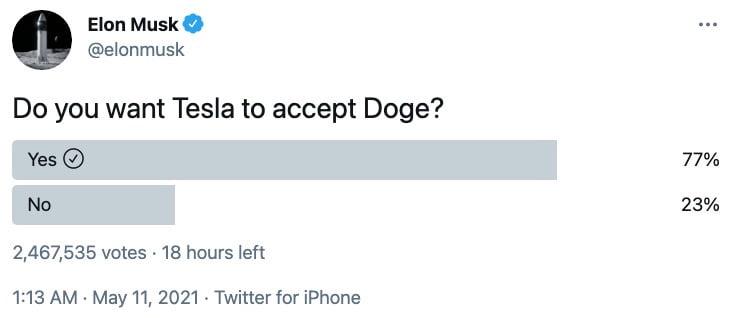 Elon Musk Poll Asks: 'Do You Want Tesla to Accept Doge?' - TeslaNorth.com