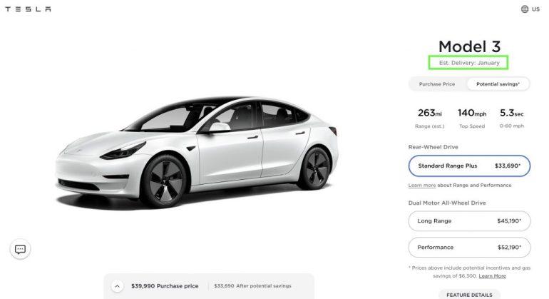 Tesla Model 3 Standard Range Plus продана в 2021 году в США