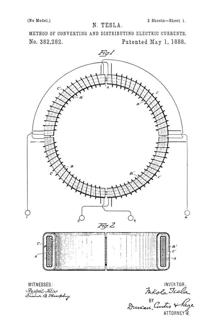 Nikola Tesla U.S. Patent 382,282 - Method of Converting and Distributing Electric Currents - Image 1