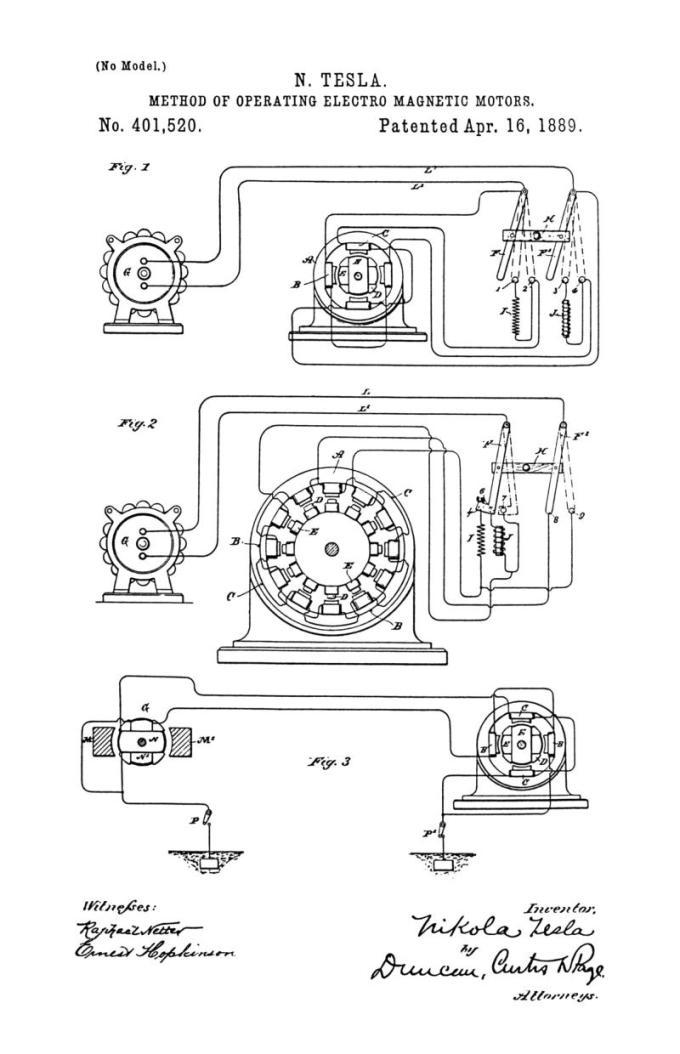 Nikola Tesla Patente de EE. UU. 401,520 - Método de funcionamiento de motores electromagnéticos - Imagen 1