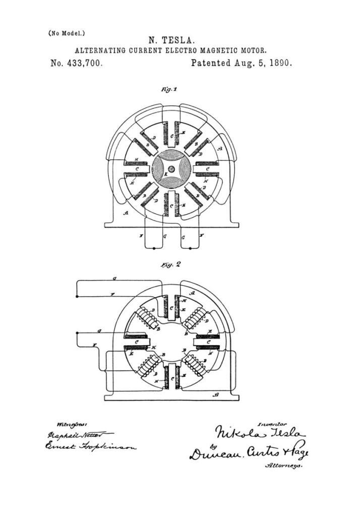 Nikola Tesla U.S. Patent 433,700 - Alternating-Current Electro-Magnetic Motor - Image 1