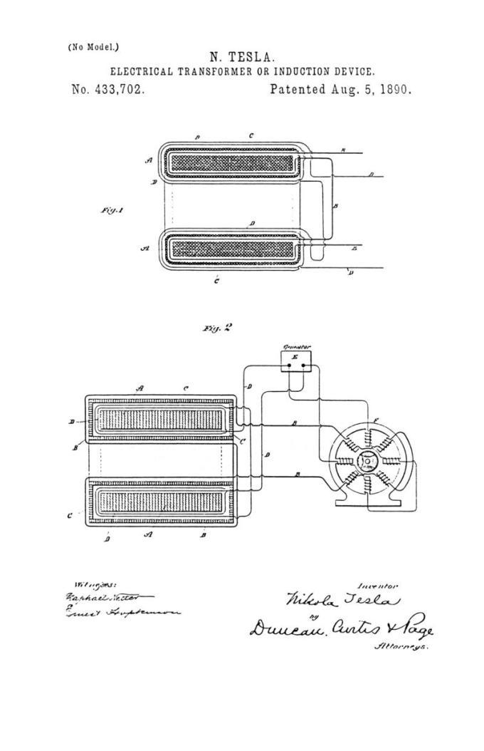 Nikola Tesla Patente de EE. UU. 433,702 - Transformador eléctrico o dispositivo de inducción - Imagen 1