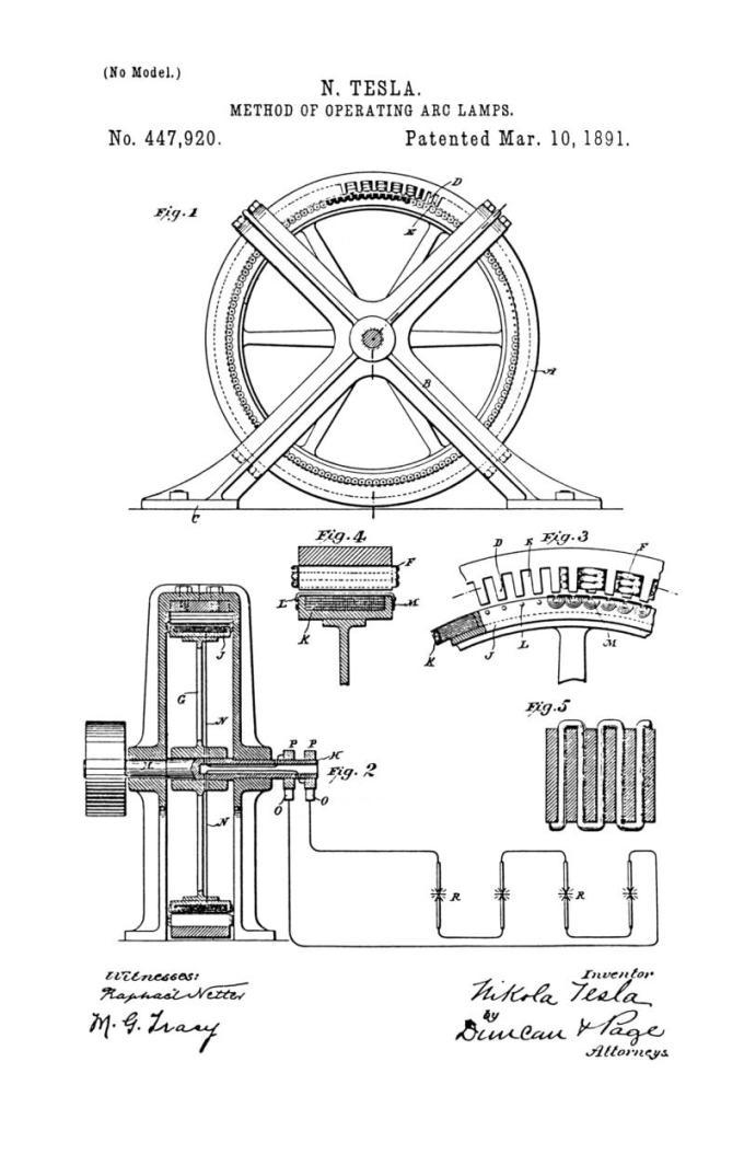 Nikola Tesla Patente de EE. UU. 447,920 - Método de funcionamiento de las lámparas de arco - Imagen 1