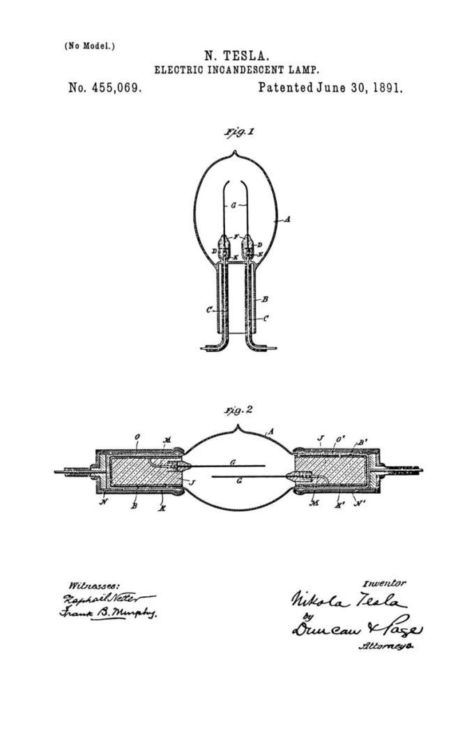 Nikola Tesla Patente de EE.UU. 455,069 - Lámpara incandescente eléctrica - Imagen 1