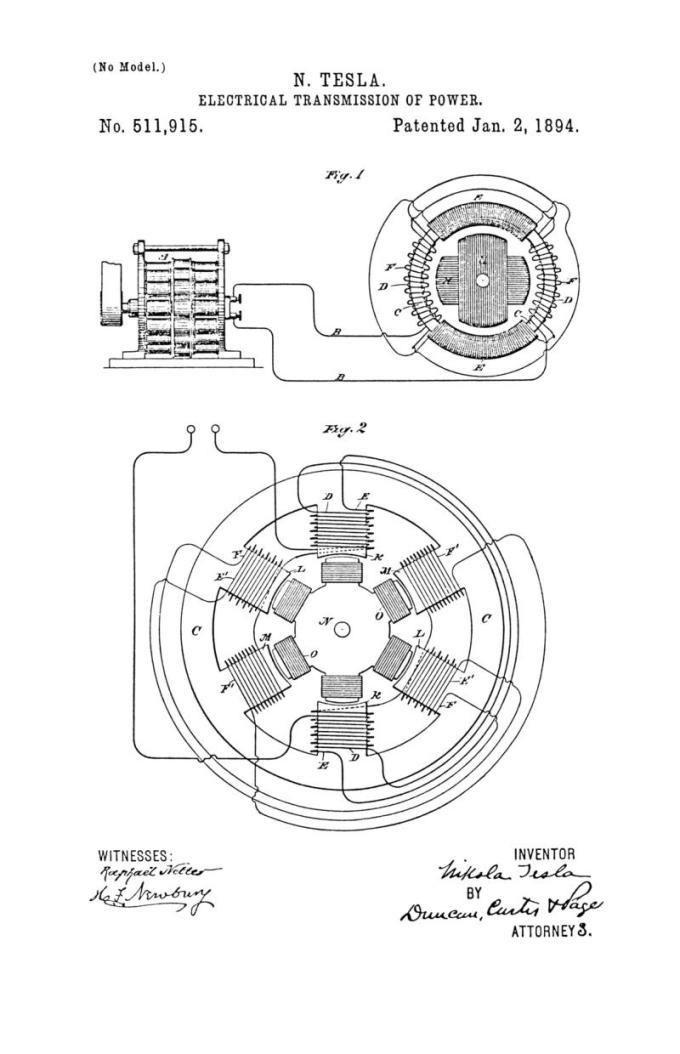 Nikola Tesla Patente de EE. UU. 511,915 - Transmisión eléctrica de potencia - Imagen 1