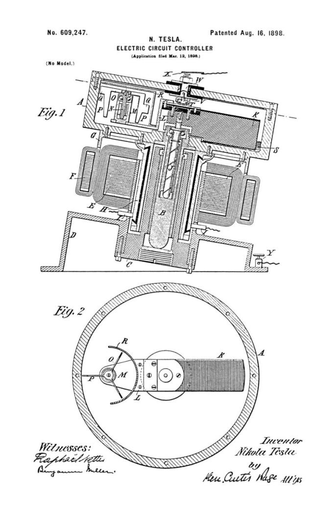 Nikola Tesla Patente estadounidense 609,247 - Controlador de circuito eléctrico - Imagen 1