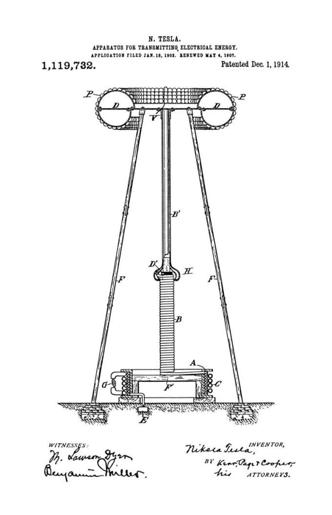 Nikola Tesla Patente de EE. UU. 1,119,732 - Aparato para transmitir energía eléctrica - Imagen 1