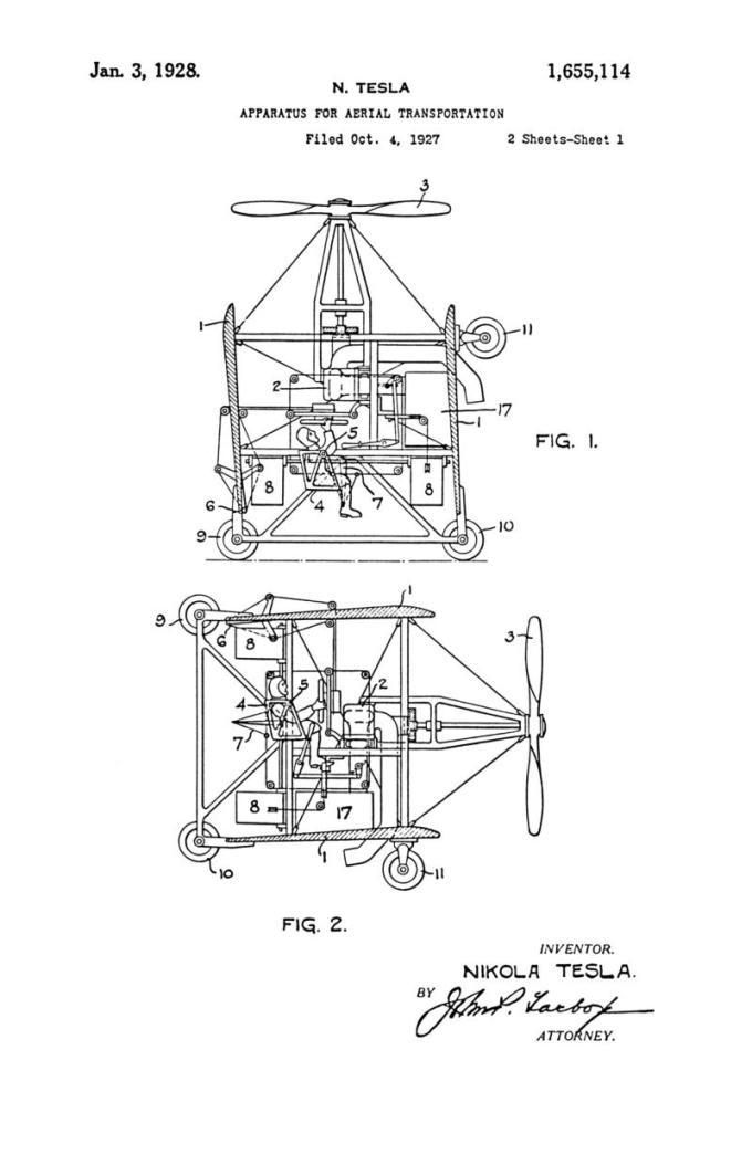 Nikola Tesla Patente de los Estados Unidos 1.655.114 - Aparato para transporte aéreo - Imagen 1