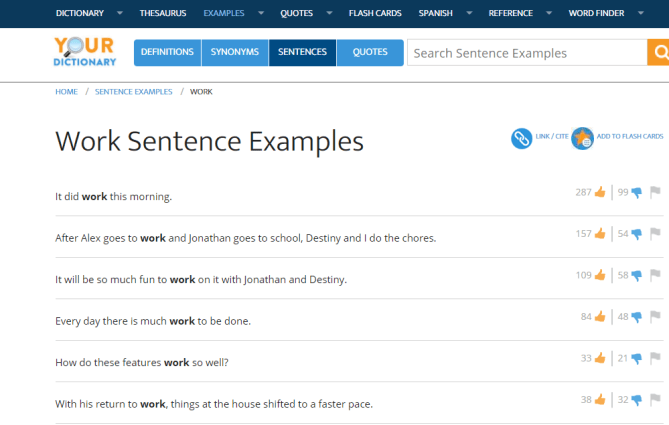 Visual of vocabulary website