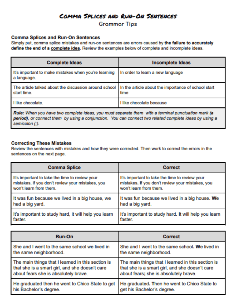 Handout on Comma Splices and Run-Ons