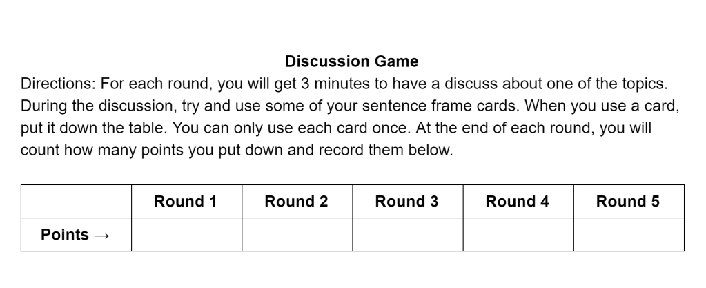 Discussion score sheet