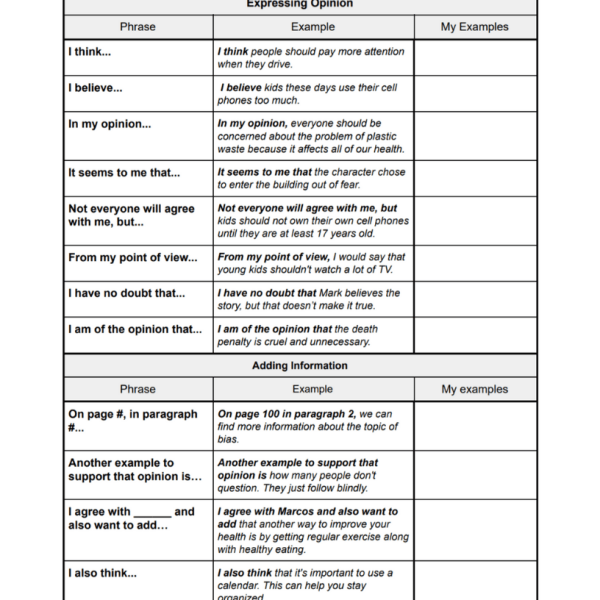 Academic Discussion Sentence Frames