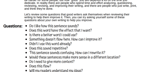 Questions Writers Ask Themselves