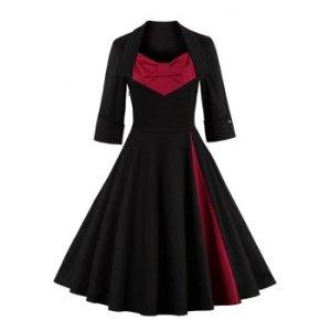 Bowknot Panel Flare Rockabilly Swing Dress