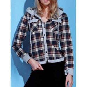 Stylish Hooded Long Sleeve Single-Breasted Gingham Women's Blouse