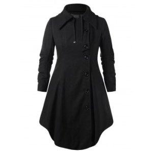 Plus Size Hooded Long Woollen Skirted Coat