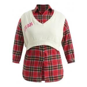 Plus Size Sleeveless Crop Top with Tartan Shirt