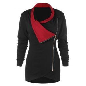 Zipper Embellished Long Sleeve Asymmetrical T-shirt