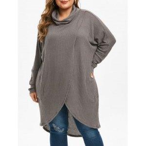 Plus Size Cowl Neck High Low Surplice Knitwear