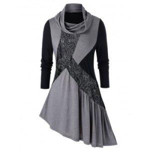 Plus Size Asymmetric Lace Panel Cowl Neck Long Sleeve Tee