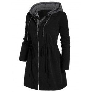 Plus Size Zipper Fly Hooded Space Dye Coat