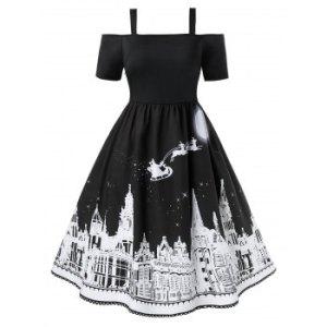 Plus Size Cold Shoulder Castle Print Christmas Dress