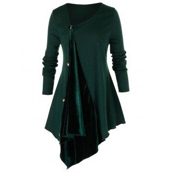 Plus Size Asymmetric Velvet Insert T Shirt