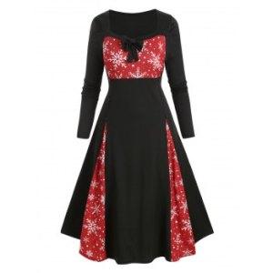 Plus Size Christmas Snowflake Bowknot Tea Length Dress