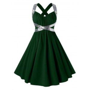 Plus Size Sequins Criss Cross Party Dress