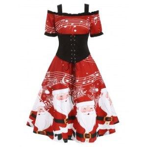 Christmas Santa Claus Musical Note Cold Shoulder Lace Up Dress