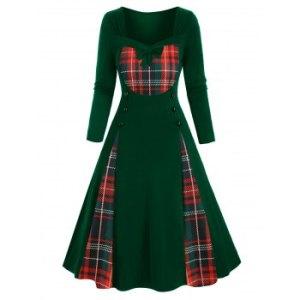 Plaid Santa Hats Snowflake Print Buttoned Bowknot Christmas Plus Size Dress