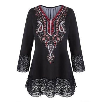 Plus Size Floral Paisley Print Lace Trim T Shirt