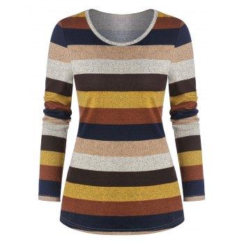 Colorful Striped Print Long Sleeve T-shirt