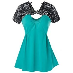 Lace Insert Cut Out Flare Tank Top