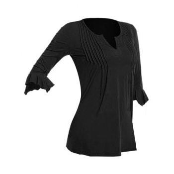 Plus Size V Cut Pintuck Flare Sleeve T-shirt