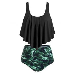 Flounce Overlay Printed Tummy Control Tankini Swimwear