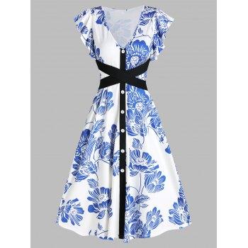 V Neck Floral Print Tie Waist Midi Dress