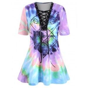 Lace-up Spiral Tie Dye Print Plus Size Top