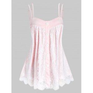 Plus Size Floral Lace Layers Tank Top