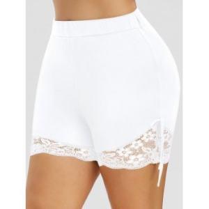 Plus Size Lace Panel Shorts