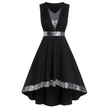Sequin Panel Sleeveless High Low Prom Dress