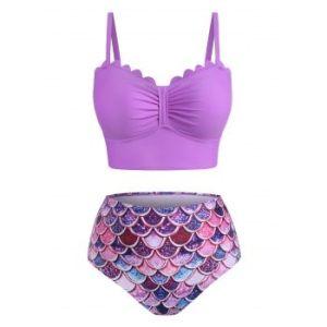 Plus Size Mermaid Scalloped Knotted Tankini Swimwear