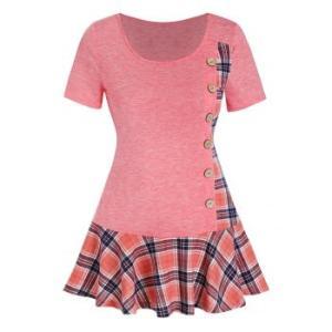 Plaid Insert Button Skirted Short Sleeve T Shirt