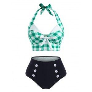 Gingham Mock Button Halter Bowknot Tankini Swimwear