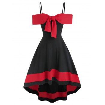 Contrast Color Open Shoulder Bowknot Dip Hem Dress
